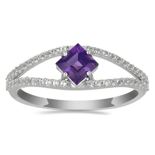 0.65 CT AFRICAN AMETHYST SILVER RING #VR028905
