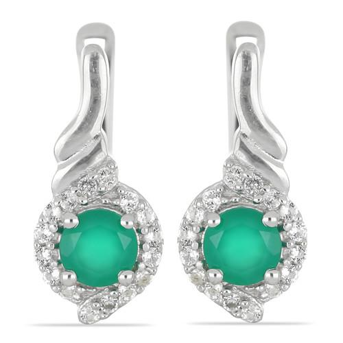 1.10 CT GREEN ONYX SILVER EARRINGS #VE029862