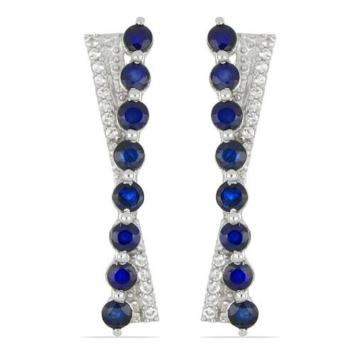 2.56 CT AUSTRALIAN BLUE SAPPHIRE SILVER EARRINGS #VE029271