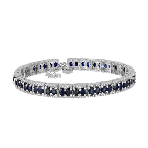 12 CT AUSTRALIAN BLUE SAPPHIRE SILVER BRACELET WITH FISH LOCK #VB016580