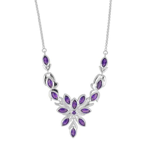 9.26 CT AFRICAN AMETHYST SILVER NECKLACE WITH FISH LOCK  #VNECK028975
