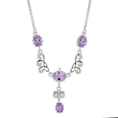 5.62 CT PINK AMETHYST SILVER NECKLACE #VNECK028976