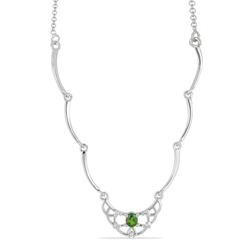 0.40 CT CHROME DIOPSIDE SILVER NECKLACE #VNECK030028