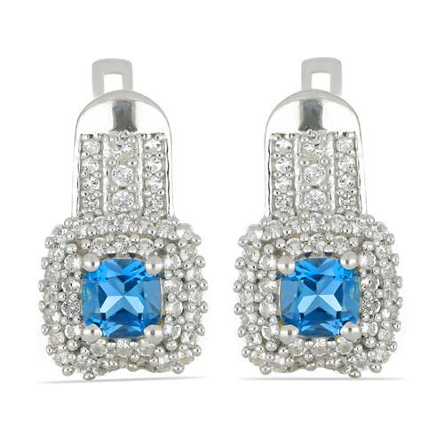 1.40 CT SWISS BLUE TOPAZ SILVER EARRINGS #VE030166