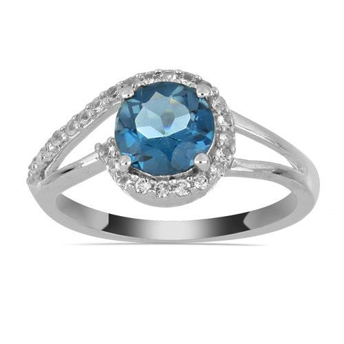 1.30 CT LONDON BLUE TOPAZ SILVER RINGS #VR030180