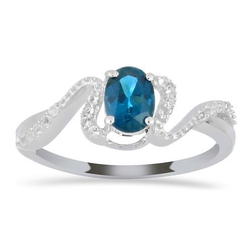 0.72 CT LONDON BLUE TOPAZ SILVER RINGS #VR030163