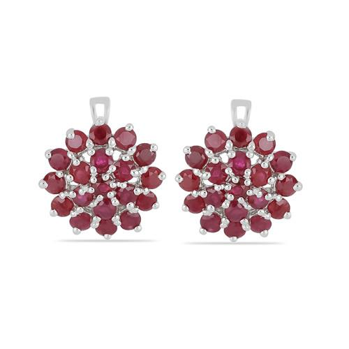 6.08 CT GLASS FILLED RUBY SILVER EARRINGS #VP029157