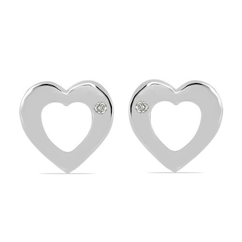 0.020 CT G-H,I2-I3 WHITE DOUBLE CUT DIAMOND SILVER EARRINGS #VE031938