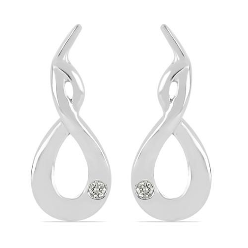 0.020 CT G-H,I2-I3 WHITE DOUBLE CUT DIAMOND SILVER EARRINGS #VE031941