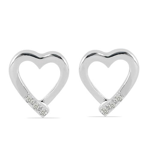 0.0198 CT G-H,I2-I3 WHITE DOUBLE CUT DIAMOND SILVER EARRINGS #VE031930