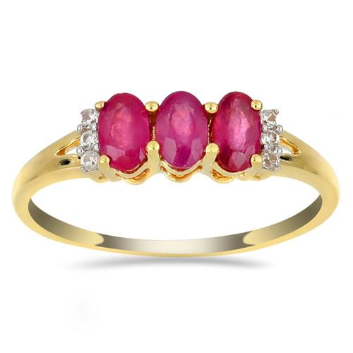 14K GOLD RING WITH 0.05 CT V3 DIAMOND   0.72 CT GLASS FILLED RUBY #VR03300