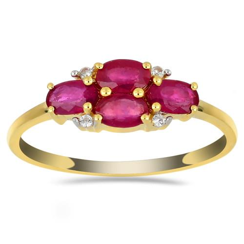 14K  GOLD RINGS WITH 0.96 CT GLASS FILLED RUBY AND 0.036  BRILLIANT CUT DIAMOND #VR032997