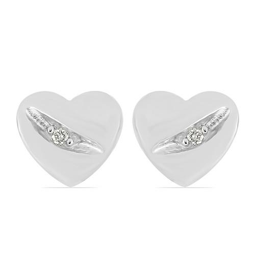 0.020 CT G-H,I2-I3 WHITE DOUBLE CUT DIAMOND SILVER EARRINGS #VE031911