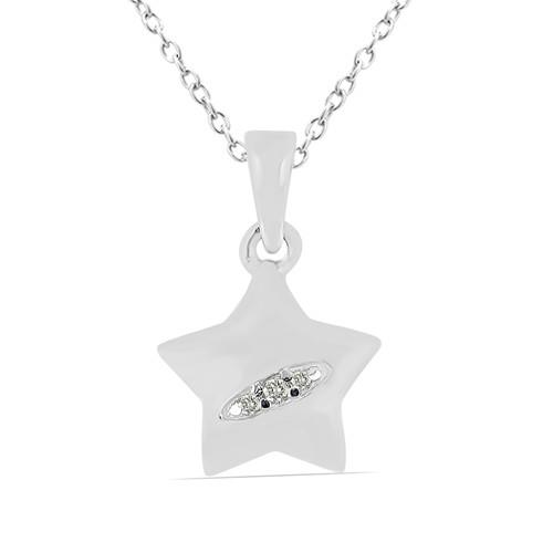 0.020 CT G-H,I2-I3 WHITE DOUBLE CUT DIAMOND SILVER PENDANTS #VP031914