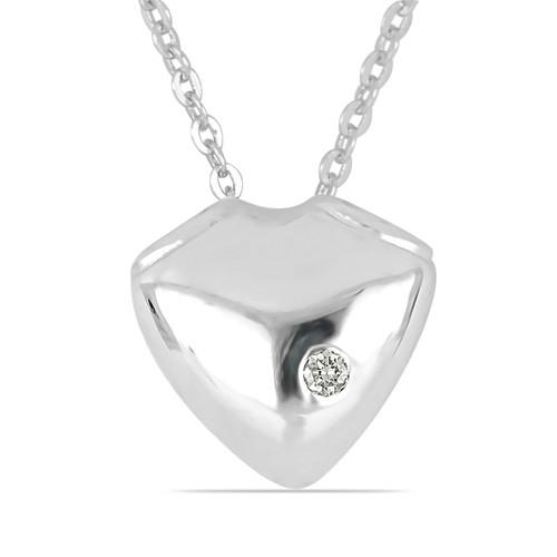 0.013 CT G-H,I2-I3 WHITE DOUBLE CUT DIAMOND SILVER PENDANTS #VP031948