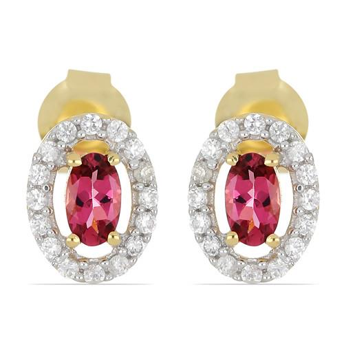 14K GOLD EARRINGS WITH 0.48 CT RUBELLITE, 0.25 CT V3 WHITE DIAMOND #VE033650