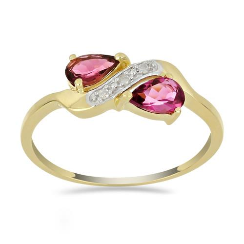 14K GOLD RINGS WITH 1.00 CT RUBELLITE, 0.0213 CT V3 WHITE DIAMOND #VR033645