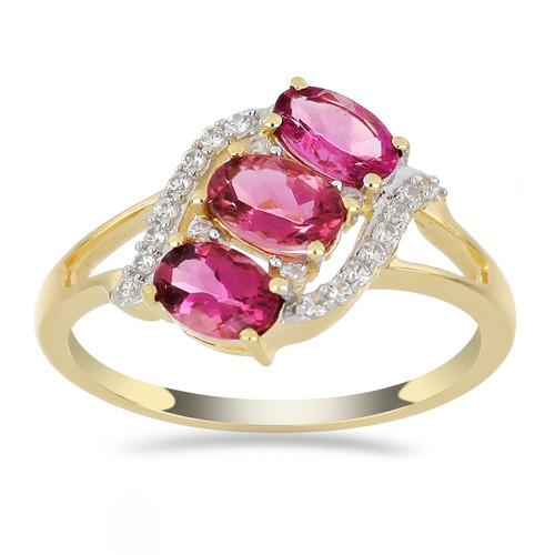 14K GOLD RINGS WITH 1.50 CT RUBELLITE 0.14 CT V3 WHITE DIAMOND #VR033644