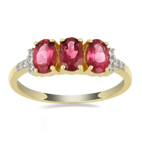 14 K GOLD RINGS WITH 1.50 CT RUBELLITE, 0.078 CT V3 WHITE DIAMOND #VR033643