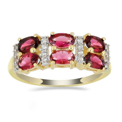 14K GOLD RINGS WITH 1.44 CT RUBELLITE, 0.11 CT V3 WHITE DIAMOND #VR033623