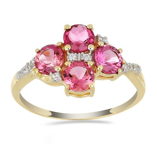 14K GOLD RINGS WITH 2.20 CT RUBELLITE, 0.064 CT V3 WHITE DIAMOND #VR033626