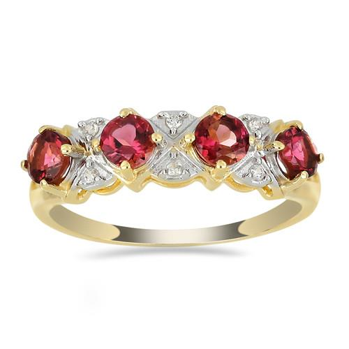14K GOLD RINGS 1.40 CT RUBELLITE 0.048 CT V3 WHITE DIAMOND #VR033622