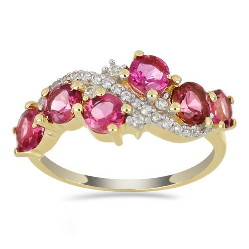 14K GOLD RINGS WITH 2.10 CT RUBELLITE 0.136 CT V3 WHITE DIAMOND #VR033637