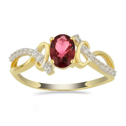 14K GOLD RING WITH 0.72 CT RUBELLITE 0.127 CT WHITE DIAMOND #VR033638