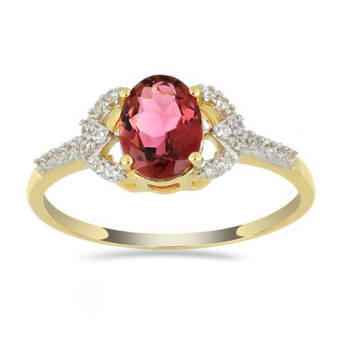 14K GOLD RINGS WITH 1.40 CT RUBELLITE 0.156 CT V3 WHITE DIAMOND #VR033628