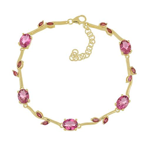 14K GOLD BRACELET WITH 9.84 CT RUBELLITE  #VB033656