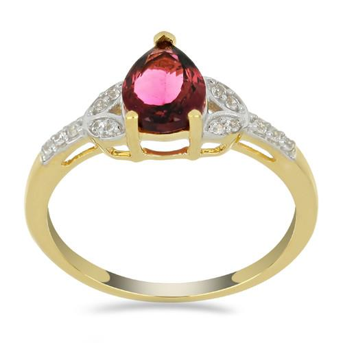 14K GOLD RINGS WITH 1.10 CT RUBELLITE 0.120 CT V3 WHITE DIAMOND #VR033620