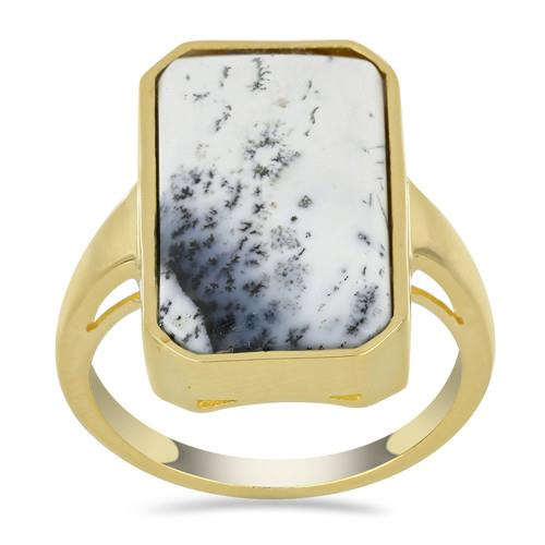 10.66 CT DENDRATIC AGATE YELLOW GOLD PLATED SILVER RINGS #VR033602