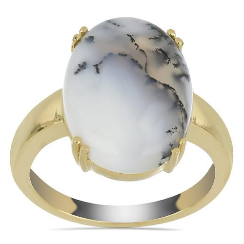 9.50 CT DENDRATIC AGATE GOLD PLATED SILVER RINGS #VR033596