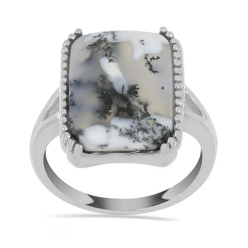 11.50 CT DENDRATIC AGATE STERLING SILVER RINGS #VR033586