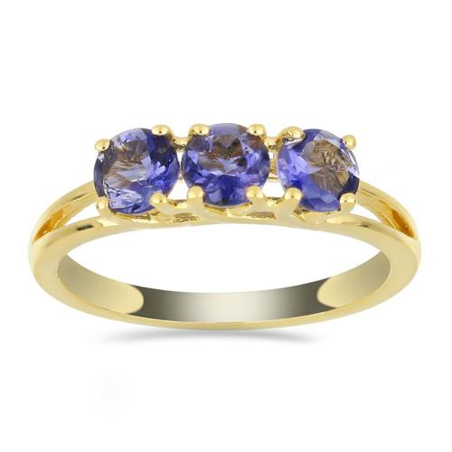 GOLD PLATED SILVER RINGS WITH 1.65 CT IOLITE #VR033541