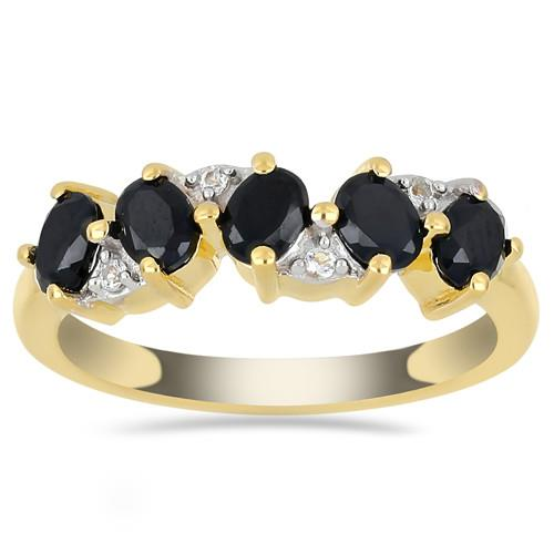 GOLD PLATED SILVER RINGS WITH 1.00 CT BLACK  #VR033318