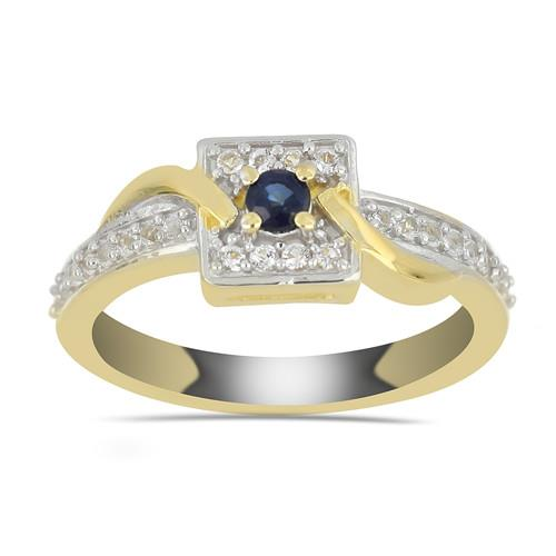 GOLD PLATED SILVER RINGS WITH 0.16 CT BLUE SAPPHIRE #VR033444