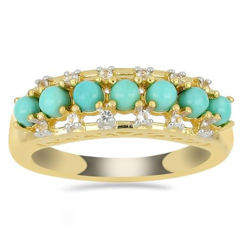 GOLD PLATED SILVER RINGS WITH 1.12 CT NATURAL TURQUOISE #VR033193