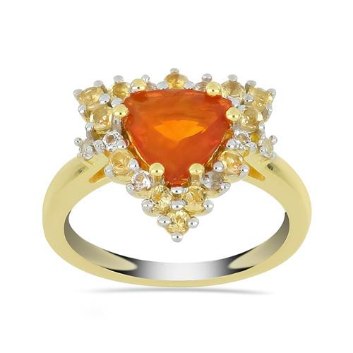 GOLD PLATED SILVER RINGS WITH 2.00 CT ORANGE OPAL #VR033264