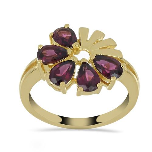 GOLD PLATED SILVER RINGS WITH 2.50 CT RHODOLITE #VR032899