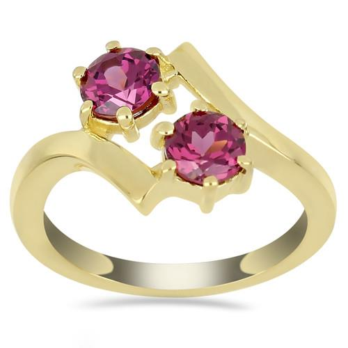 GOLD PLATED SILVER RINGS WITH 1.10 CT RHODOLITE #VR032896