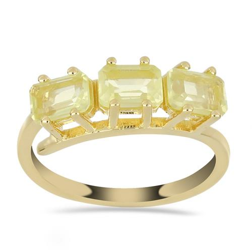 GOLD PLATED SILVER RINGS WITH 1.89 CT LEMON TOPAZ #VR032917