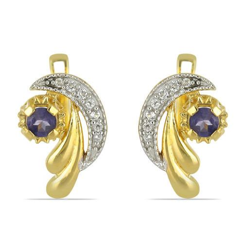 GOLD PLATED SILVER EARRINGS WITH 0.70 CT IOLITE #VE033547