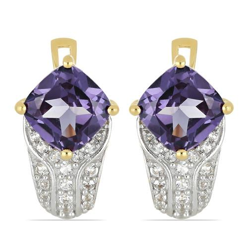 GOLD PLATED SILVER EARRINGS WITH 5.78 CT SYNTHETIC ALEXANDERITE #VE033572