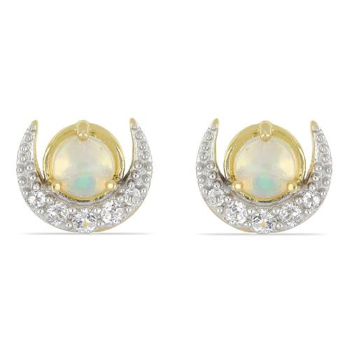 14K YELLOW GOLD PLATED SILVER EARRINGS WITH 1.10 CT ETHIOPIAN OPAL #VE033518