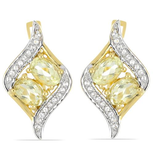 GOLD PLATED SILVER EARRINGS WITH  2.00 CT LEMON TOPAZ #VE033292
