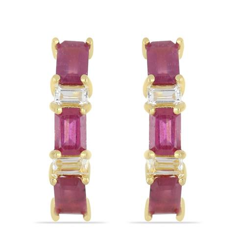 GOLD PLATED SILVER EARRINGS WITH 5.40 CT GLASS FILLED RUBY #VE033150
