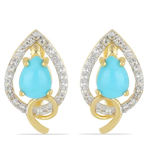2.20 CT NATURAL BLUE TURQUOISE GOLD PLATED SILVER EARRINGS #VE033209