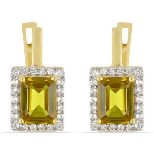 GOLD PLATED SILVER EARRINGS WITH 3.90 CT NANO ZULTANITE #VE033243