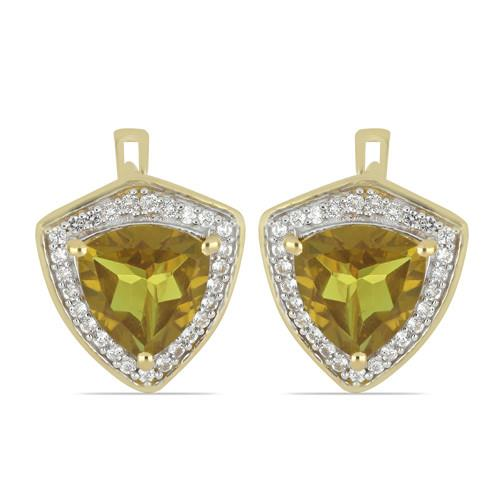 GOLD PLATED SILVER EARRINGS WITH 8.00 CT NANO ZULTAINITE #VE033244